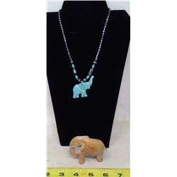 Howlite and Hematite Elephant Necklace and Soapstone