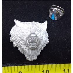 Wolf Bolo Tie Clip and Stone Chip Ring - Size 8.5