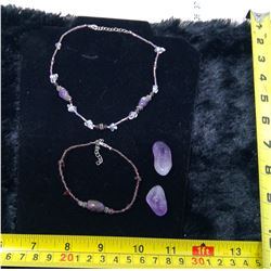 Amethyst Necklace, Bracelet, and 2 Stones
