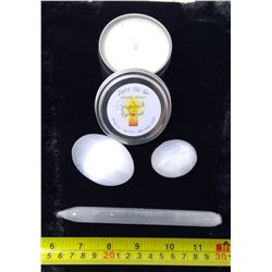 3 Piece and Selenite Massage Stone, Massage Oil Candle