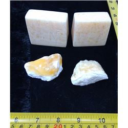 Orange Calcite Book Ends and 2 Natural Stones