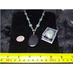 Aventurine and Onyx Necklace, and Stone Bug