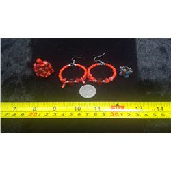 4 Piece Red Coral Set - 2 Rings and Earrings