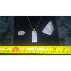 Selenite Gold Necklace and Pyramid