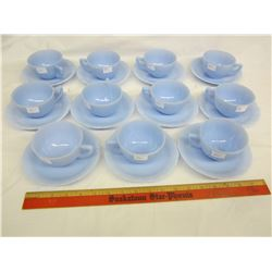 Lot of 11 Pyrex delphite cups and saucers no damage