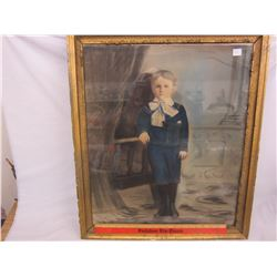Large Victorian picture of a little boy
