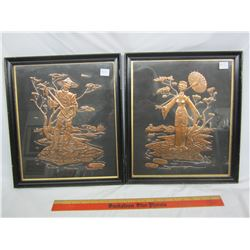 Pair of Chinese copper pictures