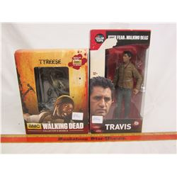 2 Walking Dead figures Travis and Tyreese with boxes