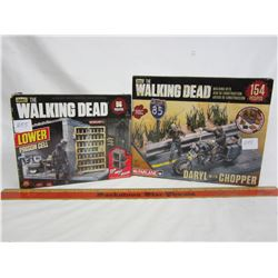 2 Walking Dead play sets Prison Cell and Daryl with Chopper with boxes