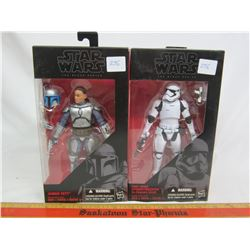 2 Star Wars figures Storm Trooper and Jango Fett with boxes
