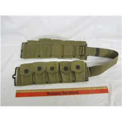 Green canvas military belt ammo pouches