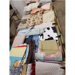 Huge lot of misc fabric and material pieces & scraps. 3 full boxes!