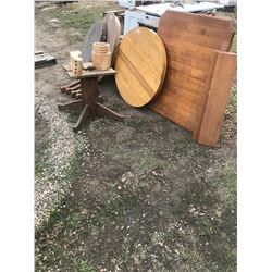 PALLET OF ROUND AND RECTANGLE TABLE TOPS, BASES, LEGS, ETC.