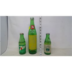 7-Up and Pure Spring Green Glass Bottles UNIQUE (with caps)
