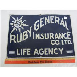 """RUBY GENERAL INSURANCE PORCELAIN SIGN 18 x 12"""" (PAINT TOUCHED UP)"""