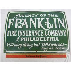 """FRANKLIN INSURANCE PORCELAIN SIGN 14 X 20"""""""