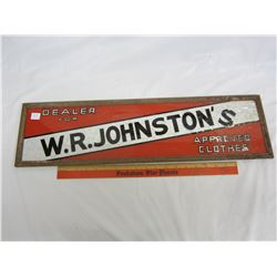 """W.R. JOHNSTON'S CLOTHING SIGN (GLASS) 24 X 7"""""""