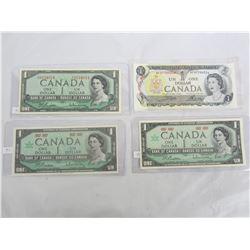 FOUR ONE DOLLAR BILLS (1) 1954, (2) 1967, (1) 1973