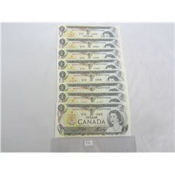 EIGHT 1973 ONE DOLLAR BILLS W/ SEQUENTIAL SERIAL NUMBERS