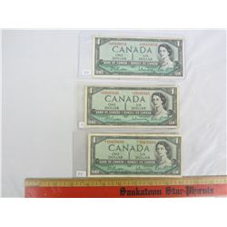 THREE 1954 REPLACEMENT ONE DOLLAR NOTES
