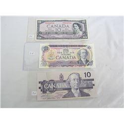 THREE DIFFERENT 10 DOLLAR BILLS 1954, 1971, 1989