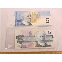TWO DIFFERENT 5 DOLLAR BILLS 1986, 2002