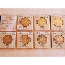 7 Consecutive Cdn Silver Half Dollars 80% - 1960-66