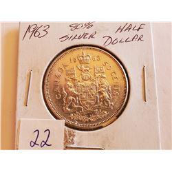 1963 80% Silver Half Dollar - Cdn