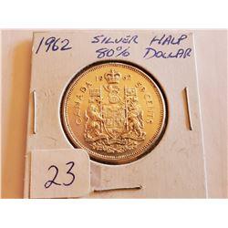 1962 80% Silver Half Dollar - Cdn