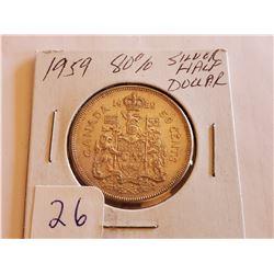 1959 80% Silver Half Dollar - Cdn