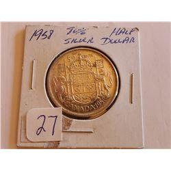 1958 80% Silver Half Dollar - Cdn