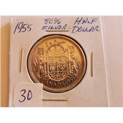 1955 80% Silver Half Dollar - Cdn