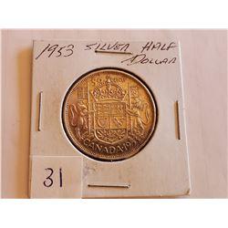 1953 80% Silver Half Dollar -Cdn