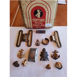 15 Piece Asst. Military Related Item Keepsakes in Sentinal Tin