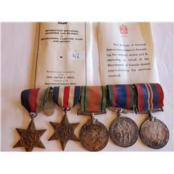 WW2 5 Medal Bar - Includes Infor. On Medals - 3 are 80% Silver