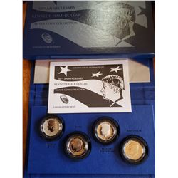 50th ANNIVERSARY SILVER KENNEDY HALF DOLLAR SET 90% - 4 PIECES