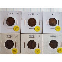 6 Indian Head Pennies - U.S. - 1888,90,92,93,95,97