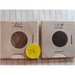 U.S. 1866 Shield Nickel (Note Hole) and 1897 Liberty V Nickel