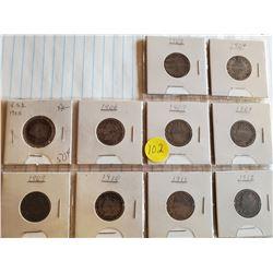 10 U.S. Liberty Nickels - Consecutive 1903-1912