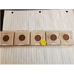 5x U.S. Buffalo Nickels - All Undated