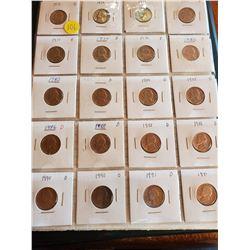 Sheet of 20 U.S. Jefferson Nickels - 1971 to 1991