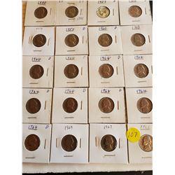 Sheet of 20 U.S. Jefferson Nickels - 1940 to 1968