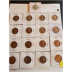Sheet of 17 U.S. Quarters 1972-86 and 2001 - 8 Drummers, 8 Eagles, 1 Vermont