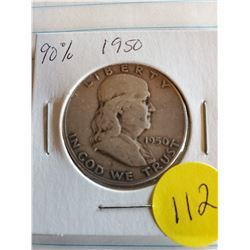 U.S. 1950 Franklin Half Dollar 90$ Silver