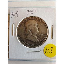 U.S. 1951 Franklin Half Dollar - 90% Silver