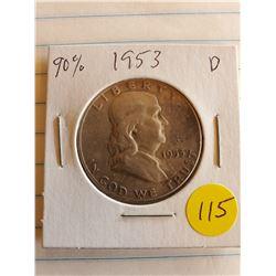 U.S. 1953D Franklin Half Dollar - 90% Silver