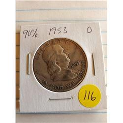 U.S. 1953 D Franklin Half Dollar - 90% Silver