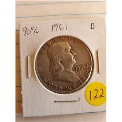 U.S. 1961D Franklin Half Dollar - 90% Silver