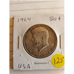 U.S. 1964D Kennedy Half Dollar - 90% Silver