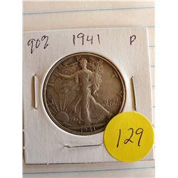 U.S. 1941D Walking Liberty Half Dollar - 90% Silver